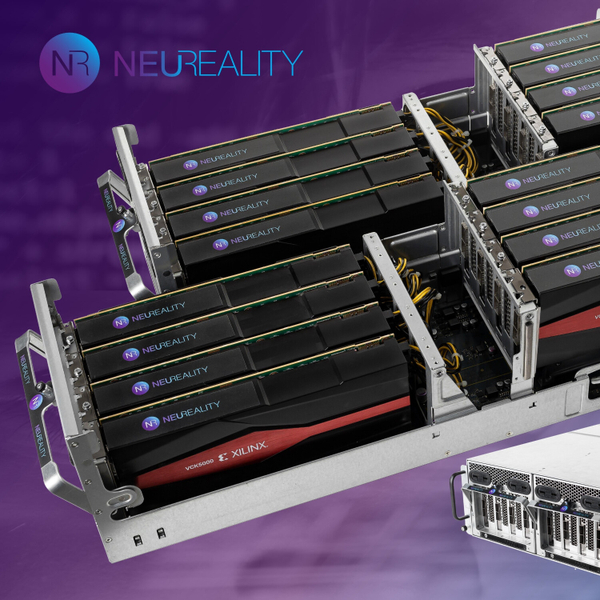 AI chip startup NeuReality introduces its NR1-P object-oriented hardware architecture. Featuring CEO and co-founder Moshe Tanach artwork